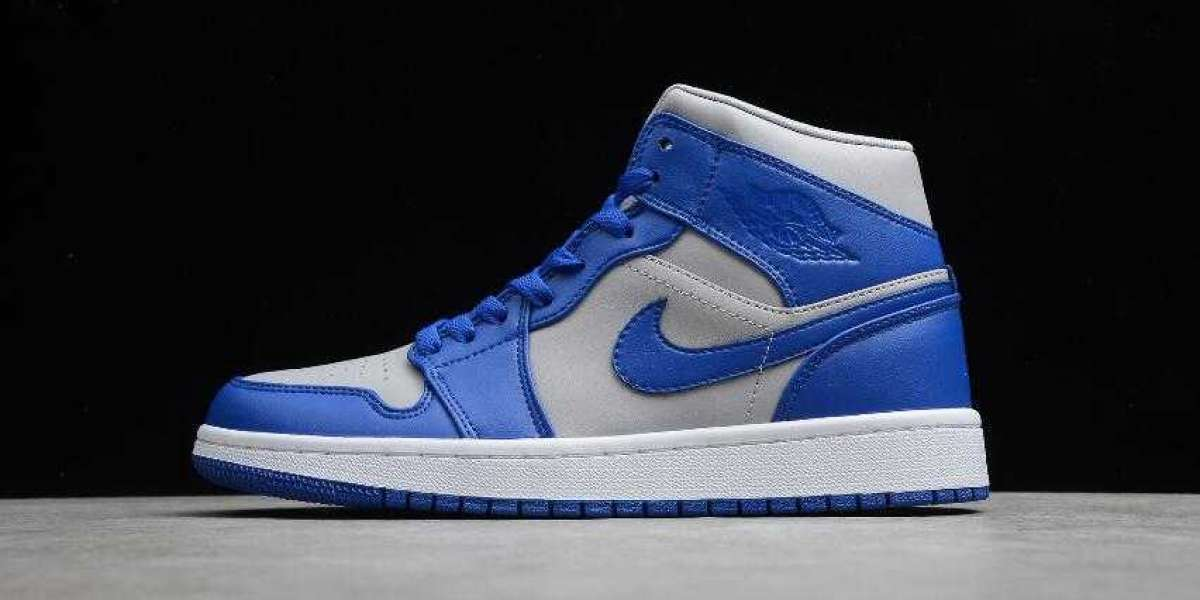 Where to Shop Air Jordan 1 Mid Grey Blue DH7821-500 Basketball Shoes for Cheap